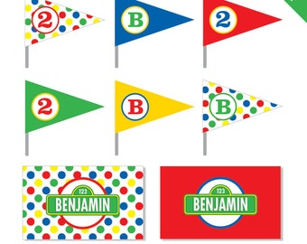 Sesame Street Party - Personalized DIY printable straw flags and napkin rings