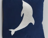 "Reserved for jillwardo73 -Two Dolphin Pillow Covers, Embroidery, Nautical Pillow, Beach decor, 18""x18"", Navy, Ready to ship"