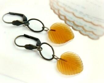 Golden Leaf Earrings / Antiqued Brass
