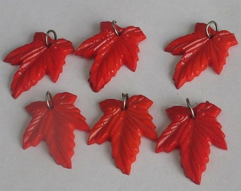 6 Red Plastic Leaves Vintage