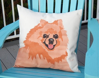 POMERANIAN pillow 20 inch (50cm) ships tomorrow outdoor hand painted Pom canine best friend fundraiser shelter Crabby Chris Original