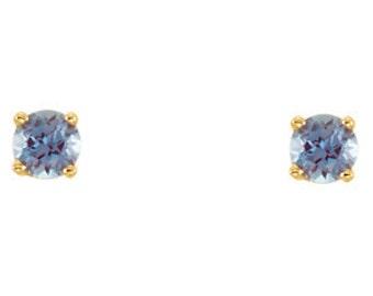 14kt Gold Birthstone Earrings June Birthstone-Alexandrite Stud Earrings