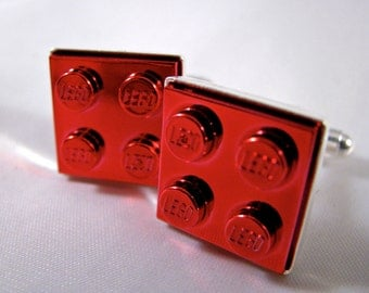 2x2 Red Chrome Brick Cufflinks