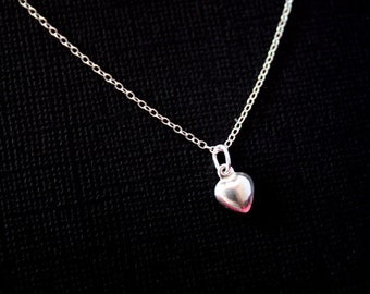 Sterling Silver small Heart necklace - Cute simple,  shiny Heart, everyday wear, Heart jewelry, Mom's necklace, Mother's Day Birthday gifts