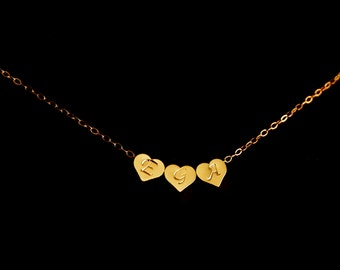 Three initial hearts Necklace in Gold  - simple necklace, small short necklace, romantic birthday gifts, mothers day gift ,for wife