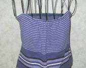 Boho Eco Reworked upcycled Halter top from summer knit sweater purple, black, and lavendar