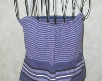 Sale Boho Eco Reworked upcycled Halter top from summer knit sweater purple, black, and lavendar