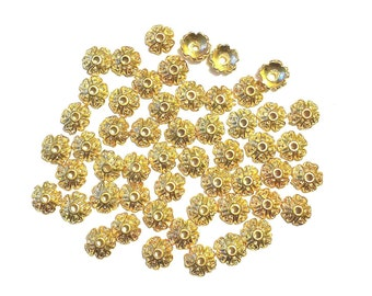 Gold Bead Caps 90 Flower Findings for jewelry making supplies destash