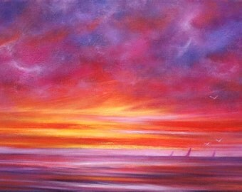 Sailing At Sunset limited edition giclee print on paper