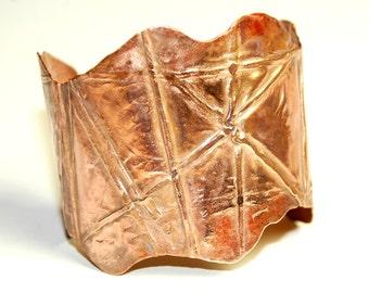 Copper Cuff Bracelet - Fold Formed - Metalwork - Unique Jewelry - Rustic - Small Cuff - One of a kind
