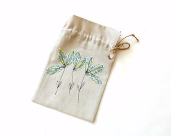 Gift bag, floral appliqued linen gift bag, jewelry bag, wedding shower favor bag, drawstring gift pouch, green blue yellow, fabric gift bag