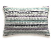 Knit Melange Pillow Cover In Grey Lavender Navy Duck Egg Aqua Blue 12 x 18 inch Stripe Textured Wool