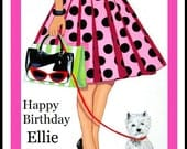 Personalised Card Birthday Christmas thank you Mum Sister Daughter any occasion West highland terrior  Lady westie puppy dog