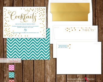 Foil Pressed Cocktail Party Invitation with deliciously thick cardstock, Foil lined envelope, and more!