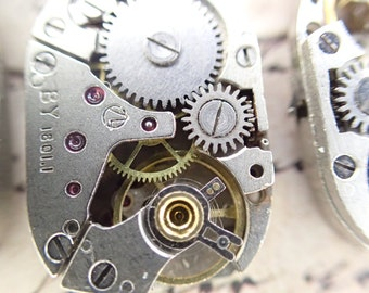 2 Old Vintage Mechanical watch movement wit gears round watch movements 14 x 19mm