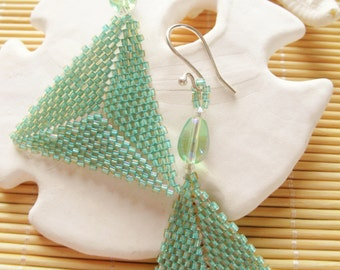Delica Triangle drop earrings