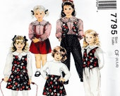 Mccalls 7795 Vintage Girls Sew Pattern