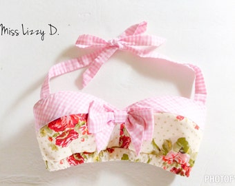 Pin Up Pink Gingham Floral Print Shabby Chic Pin Up Rockabilly Bow Top