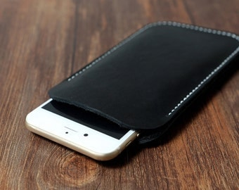 All Black genuine Leather iphone 6 sleeve / iphone 6 plus leather sleeve pouch / iphone 6 plus leather case bumper