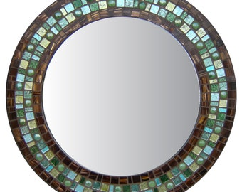 Round Wall Mirror - Brown, Green, & Teal Mosaic