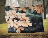 Fleece Blanket -  Peach Flowers Floral - Teal Peach - Decorative Nature Fleece Blanket - Baby Blanket - Medium Large Blanket