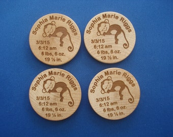 BIRTH ANNOUNCMENT MAGNETS - 50 1.5 inch Round Laser Engraved Magnets. Wonderful Birth announcements for New Baby