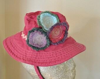 "Pink Dyed Denim Bucket Beach HAT #2 - Green Blue Orange Violet Upcycled Gap Fringed Denim Circle - Toddler Baby Infant 6-12 Months 18"" Hat"