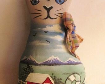 Barn Cat doll soft stuffed and hand painted art doll kitten OOAK