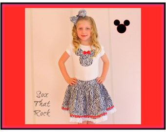 Minnie Mouse Animal Kingdom inspired girls twirly skirt & shirt set, hair bow n sock also available, Disney, Disney Cruise