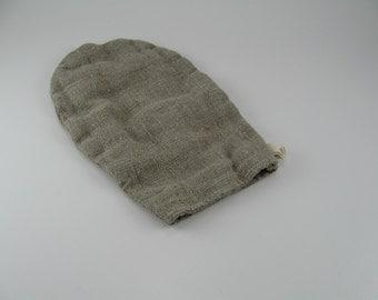 Handmade Linen Exfoliating Mitt / Face and Body Daily Exfoliating Mitt / Bath Mitt / Asymmetric Mitt --- Natural / Dye Free