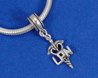 LPN Caduceus European Dangle Bead Charm - Sterling Silver LPN Nurse Medical Caduceus Charm for European Bracelet