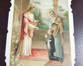 Vintage 1920s First Communion French Catholic Holy Card - Religious Ephemera - Eucharist Prayer Card - Die Cut Picture