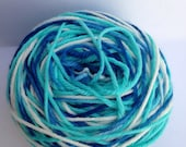 Hand Dyed Yarn - Merino - Worsted Weight - Color Change - white aqua peacock blue