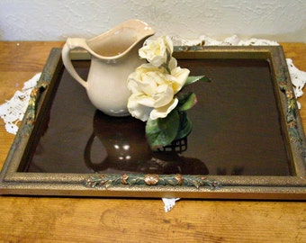 Vintage Gesso Tray - Metal Handles - Victorian Chic - Serving Tray - Display Accent Piece - Home Decor Tray
