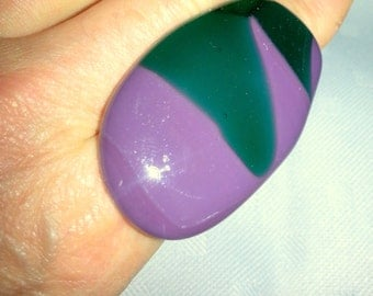 PURPLE and green  fused glass adjustable bold large statement  ring 2""