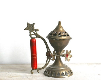 Censor Brazier, Vintage Brass Censor Hand Held Religious Incense Burner Brazier