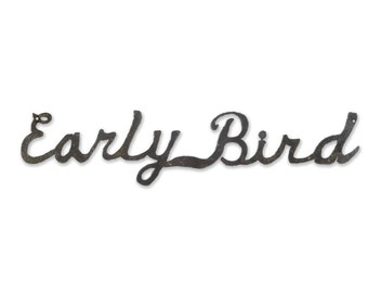 Decorative Wall Sign Early Bird Cursive Letters