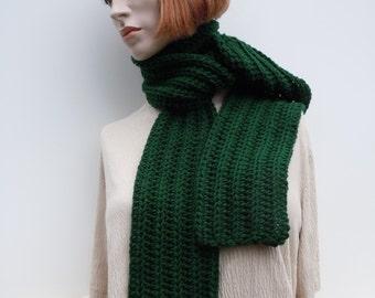 Scarf Dark Green - Hunter Green Scarf - Christmas Green Scarf - Crocheted Scarf