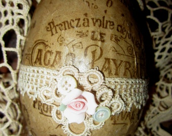 Vintage Lace Chocolat Cacao Ad Collage Easter Goose Egg 2  Spring Decor