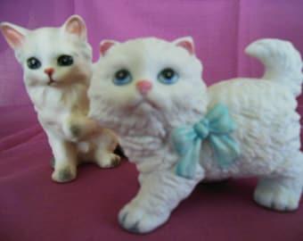2 Ceramic Kittens  Pretty in Pink / Pretty is Blue