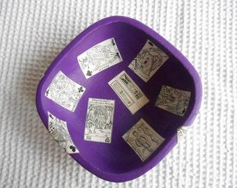 Tarot Decoupaged Purple Wooden Bowl 15cm