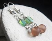 Brown/green Czech Glass Bead Earrings - A.816