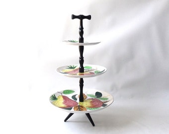 vintage 1960's 3 tier serving stand ironstone plate tray fruit wood japan royal sealy white china entertaining pastries cookie cupcakes old