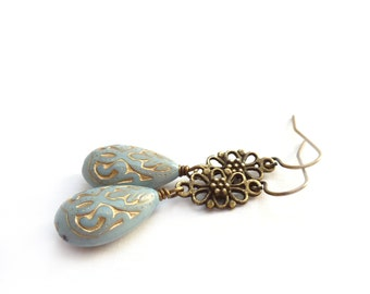 Pale Blue Teardrop Earrings - Acrylic Beads with Gold Inlay - Vintage Style Light Blue Victorian Earrings - Gift for Her