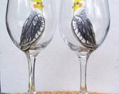 Parrot, Cockatiel,  Pet Bird  Wine Glass Hand Painted (Custom Order Only)