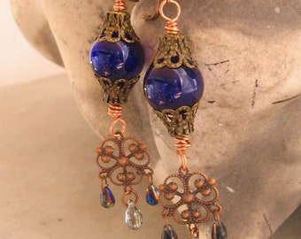 Cobalt Blue Glass Earrings - Blue Glass Orb Chandelier Earrings with Filigree Dangle