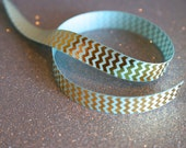 Gold and Aqua Chevron Grosgrain Ribbon