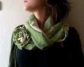 50% sale, Green Infinity Scarf  leaves Printed   tube Circle  womens accessories