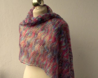 Multicolor hand knitted lace shawl, knit scarf, knitted mohair scarf,SPRING SALE 25% OFF