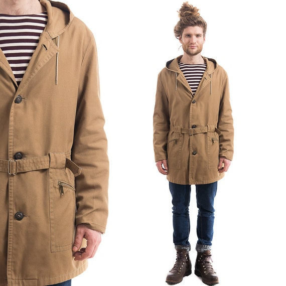 Vintage PARKA Coat . Trench Mens Beige Brown Long Duster